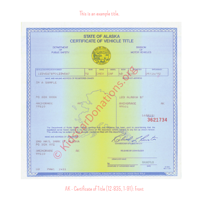 Alaska Certificate of Title (12-835, 1-91): Front | Kids Car Donations