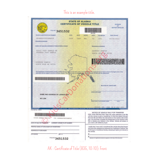 Alaska Certificate of Title (835, 10-10): Front | Kids Car Donations