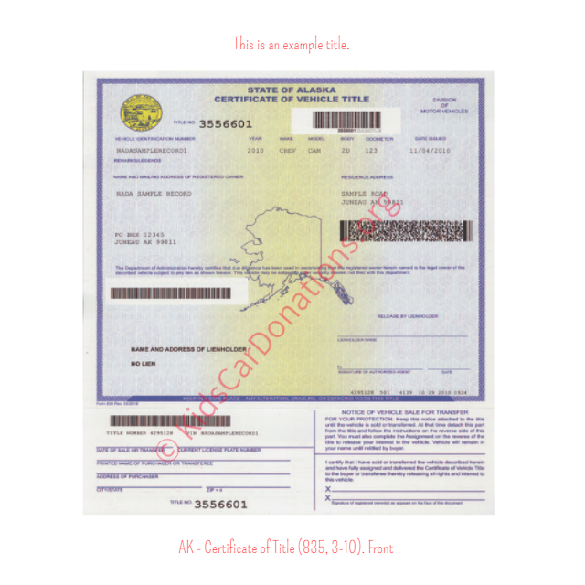 Alaska Certificate of Title (835, 3-10): Front | Kids Car Donations