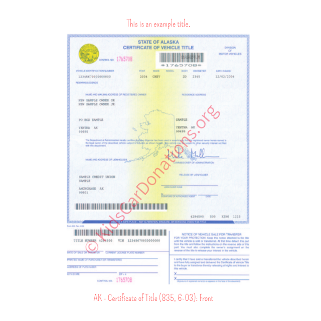 Alaska Certificate of Title (835, 6-03): Front | Kids Car Donations