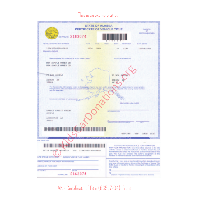 Alaska Certificate of Title (835, 7-04): Front | Kids Car Donations