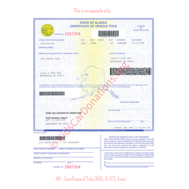 Alaska Certificate of Title (835, 8-07): Front | Kids Car Donations