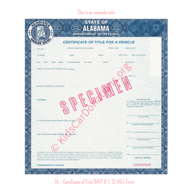 Alabama Certificate of Title (MVT 8-1, 12-95): Front | Kids Car Donations