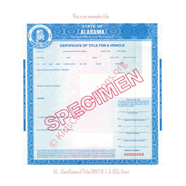 Alabama Certificate of Title (MVT 8-1, 5-05): Front | Kids Car Donations