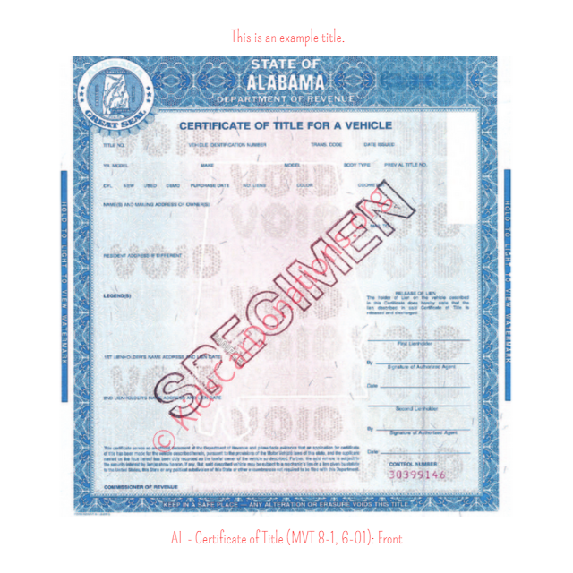 Alabama Certificate of Title (MVT 8-1, 6-01): Front | Kids Car Donations