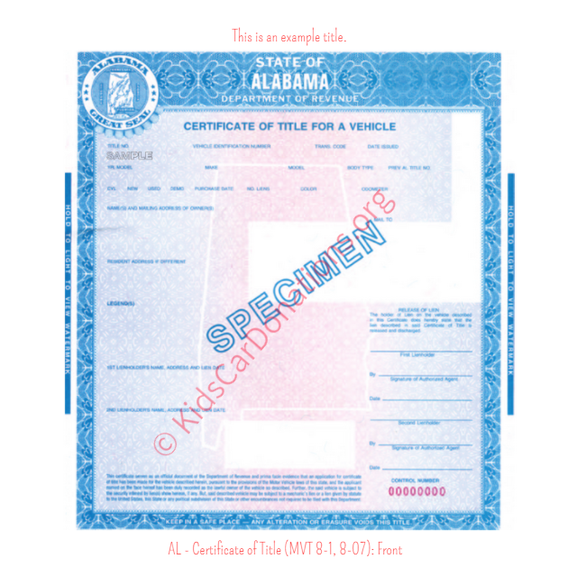 Alabama Certificate of Title (MVT 8-1, 8-07): Front | Kids Car Donations