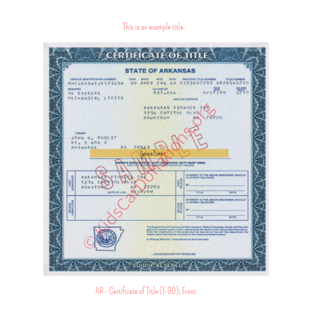 Arkansas Certificate of Title (1-90) Front | Kids Car Donations