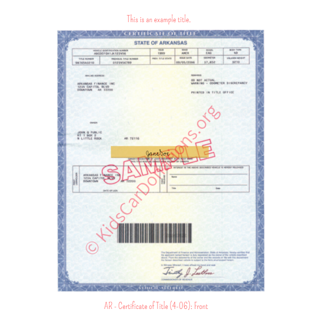 Arkansas Certificate of Title (4-06) Front | Kids Car Donations
