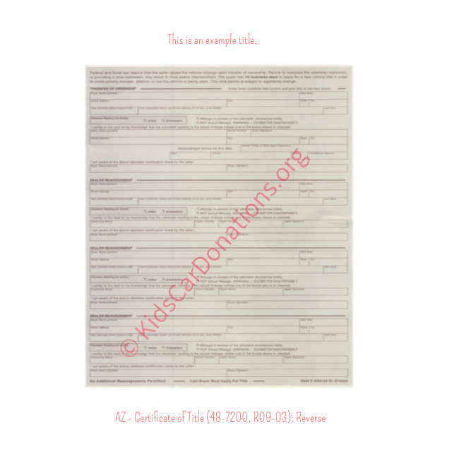 Arizona Certificate of Title (48-7200, R09-03) Reverse | Kids Car Donations