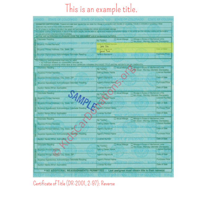 This is an Example of Colorado Certificate of Title (DR-2001, 2-97) Reverse View | Kids Car Donations