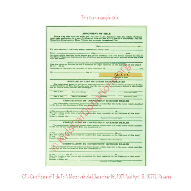 This is an Example of Certificate of Title To A Motor vehicle (December 16, 1971 And April 6, 1977) Reverse View | Kids Car Donations