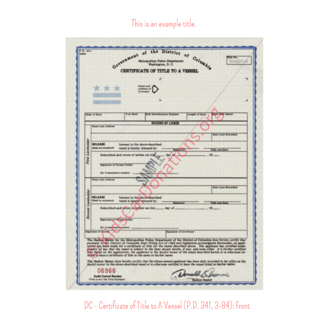 This is an Example of District Of Columbia Certificate of Title to A Vessel (P.D 341, 3-84) Front View | Kids Car Donations