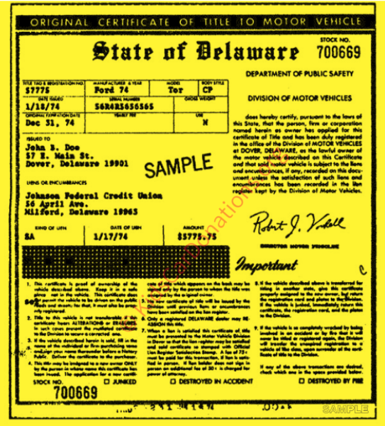 This is an Example of Delaware Certificate of Title (MV-202A) | Kids Car Donations