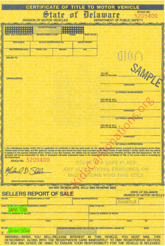 This is an Example of Delaware Certificate of Title (MV-202A, 1997) Front View | Kids Car Donations