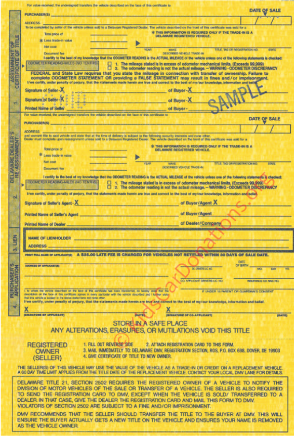 This is an Example of Delaware Certificate of Title (MV-202A, 1997) Reverse View | Kids Car Donations