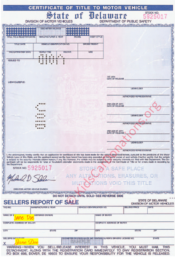This is an Example of Delaware Certificate of Title To Motor Vehicle (2000) Front View | Kids Car Donations
