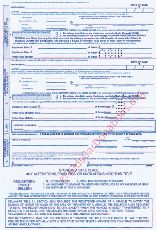 This is an Example of Delaware Certificate of Title To Motor Vehicle (2000) Reverse View | Kids Car Donations