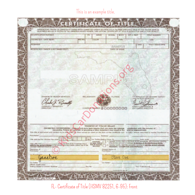 This is an Example of Florida Certificate of Title (HSMV 82250, 6-95) Front View | Kids Car Donations