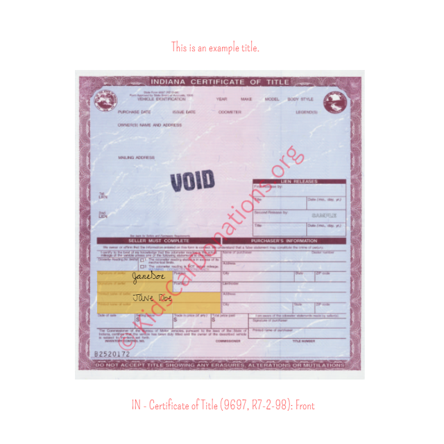 This is an Example of Indiana Certificate of Title (9697, R7-2-98) Front View | Kids Car Donations
