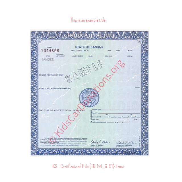 This is an Example of Kansas Certificate of Title (TR-19T, 6-01) Front View | Kids Car Donations