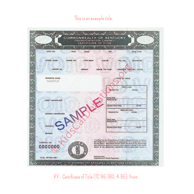 This is an Example of Kentucky Certificate of Title (TC 96-180, 4-95) Front View | Kids Car Donations