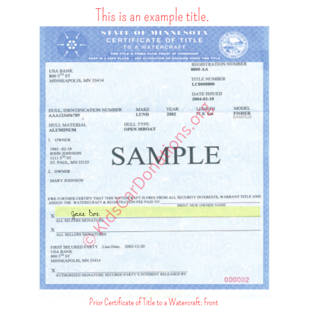 This is an Example of Minnesota Prior Certificate of Title to a Watercraft - Front | Kids Car Donations