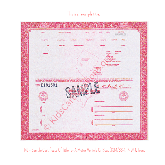 This is an Example of New Jersey Certificate Of Title For A Motor Vehicle Or Boat (ISM-SS-1, 7-94) Front View | Kids Car Donations