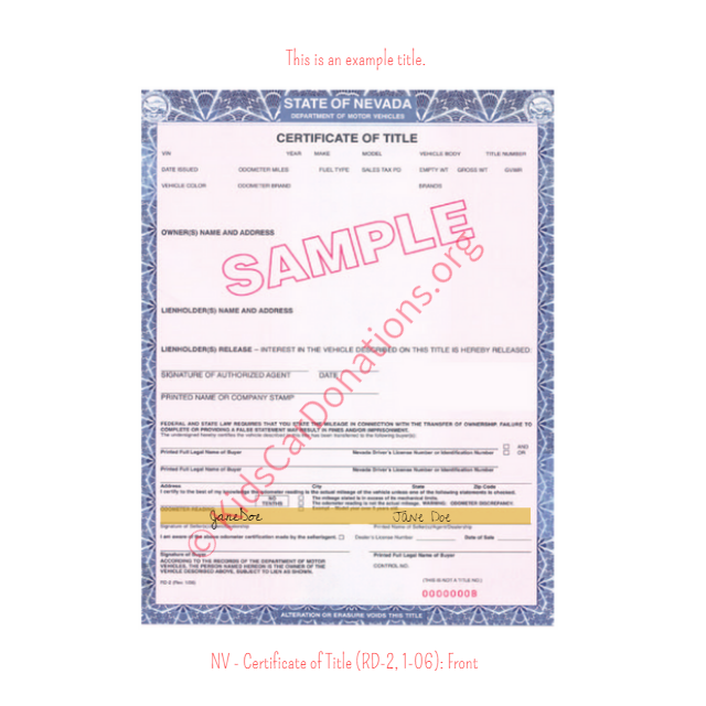 This is an Example of Nevada Certificate of Title (RD-2, 1-06) Front View | Kids Car Donations