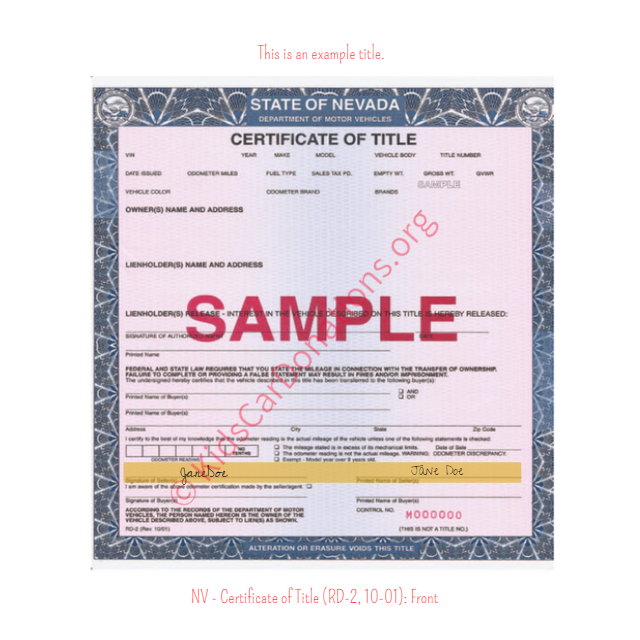This is an Example of Nevada Certificate of Title (RD-2, 10-01) Front View | Kids Car Donations