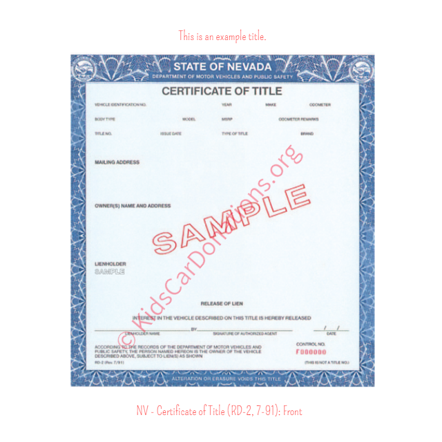 This is an Example of Nevada Certificate of Title (RD-2, 7-91) Front View | Kids Car Donations
