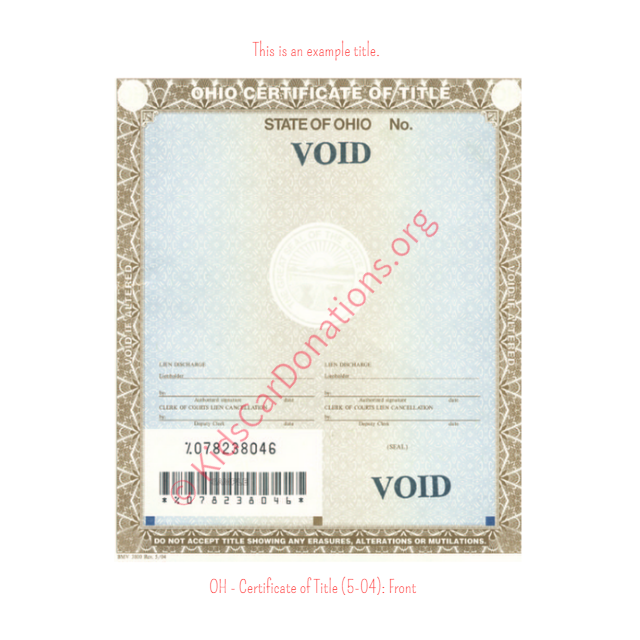 This is an Example of Ohio Certificate of Title (5-04) Front View | Kids Car Donations
