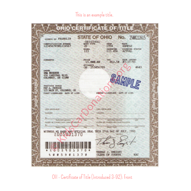 This is an Example of Ohio Certificate of Title (Introduced 3-92) Front View | Kids Car Donations