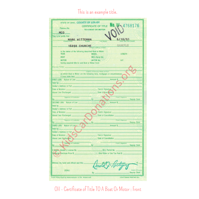 This is an Example of Ohio Certificate of Title To A Boat Or Motor Front View | Kids Car Donations