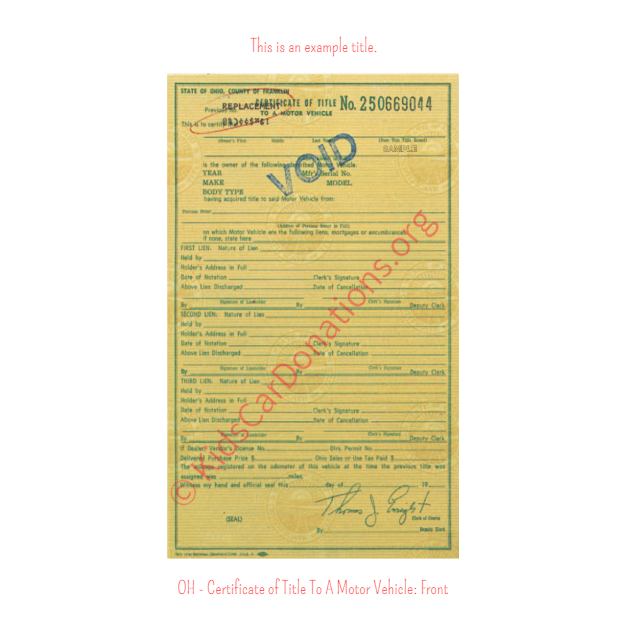 This is an Example of Ohio Certificate of Title To A Motor Vehicle Front View | Kids Car Donations