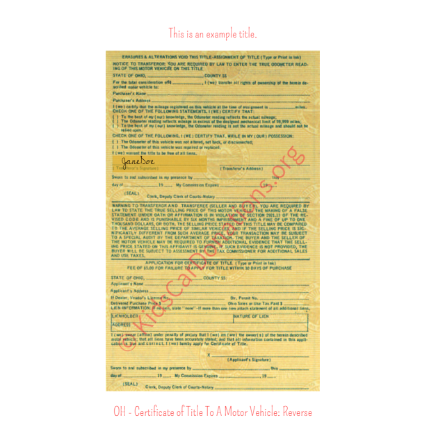 This is an Example of Ohio Certificate of Title To A Motor Vehicle Reverse View | Kids Car Donations