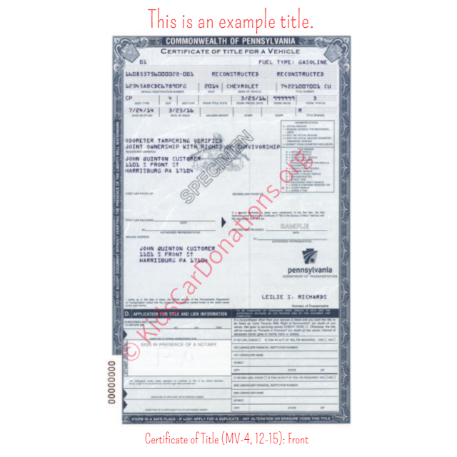 This is an Example of Pennsylvania Certificate of Title (MV-4, 12-15) Front View | Kids Car Donations