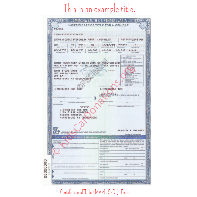 This is an Example of Pennsylvania Certificate of Title  (MV-4, 9-01) Front View | Kids Car Donations
