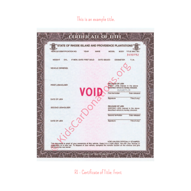 This is an Example of Rhode Island Certificate of Title (Copy 2) Front View | Kids Car Donations