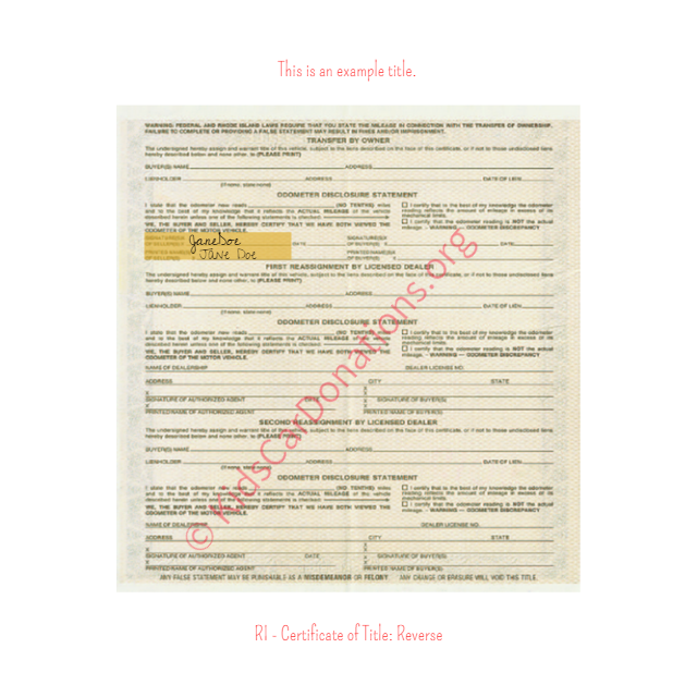 This is an Example of Rhode Island Certificate of Title (Copy 3) Reverse View | Kids Car Donations