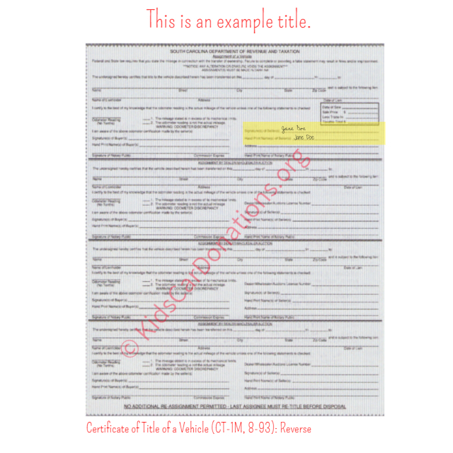 This is an Example of South Carolina Certificate of Title of a Vehicle (CT-1M, 8-93) Reverse View | Kids Car Donations