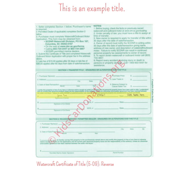 This is an Example of South Carolina Watercraft Certificate of Title (5-09) Reverse View | Kids Car Donations