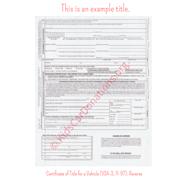 This is an Example of Virginia Certificate of Title for a Vehicle (VSA-3, 11-97) Reverse View | Kids Car Donations