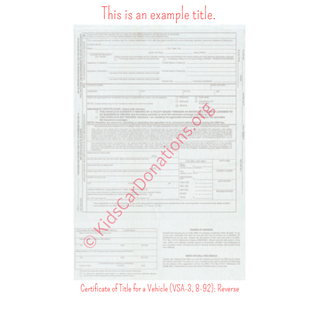 This is an Example of Virginia Certificate of Title for a Vehicle (VSA-3, 8-92) Reverse View | Kids Car Donations