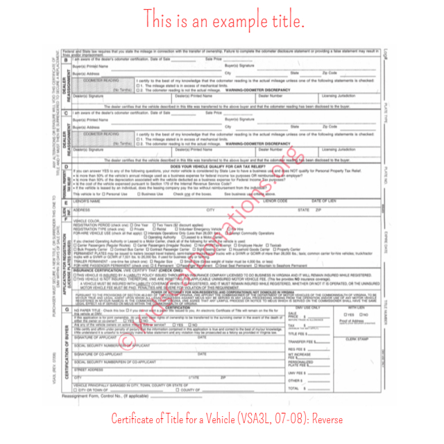 This is an Example of Virginia Certificate of Title for a Vehicle (VSA3L, 07-08) Reverse View | Kids Car Donations