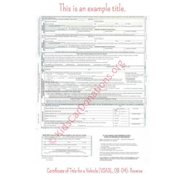 This is an Example of Virginia Certificate of Title for a Vehicle (VSA3L, 08-04) Reverse View | Kids Car Donations