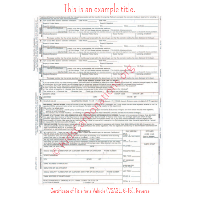 This is an Example of Virginia Certificate of Title for a Vehicle (VSA3L, 6-15) Reverse View | Kids Car Donations