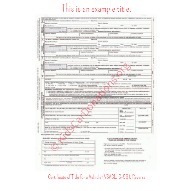 This is an Example of Virginia Certificate of Title for a Vehicle (VSA3L, 6-99) Reverse View | Kids Car Donations