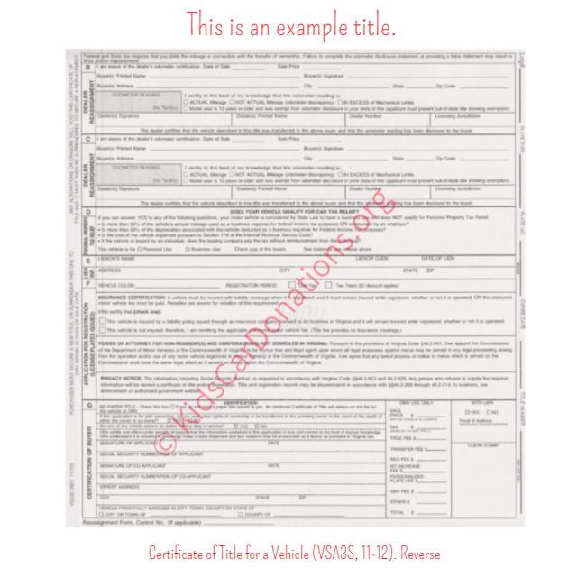 This is an Example of Virginia Certificate of Title for a Vehicle (VSA3S, 11-12) Reverse View | Kids Car Donations