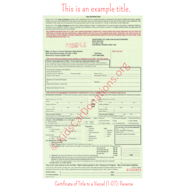 This is an Example of Virginia Certificate of Title to a Vessel (1-07) Reverse View | Kids Car Donations