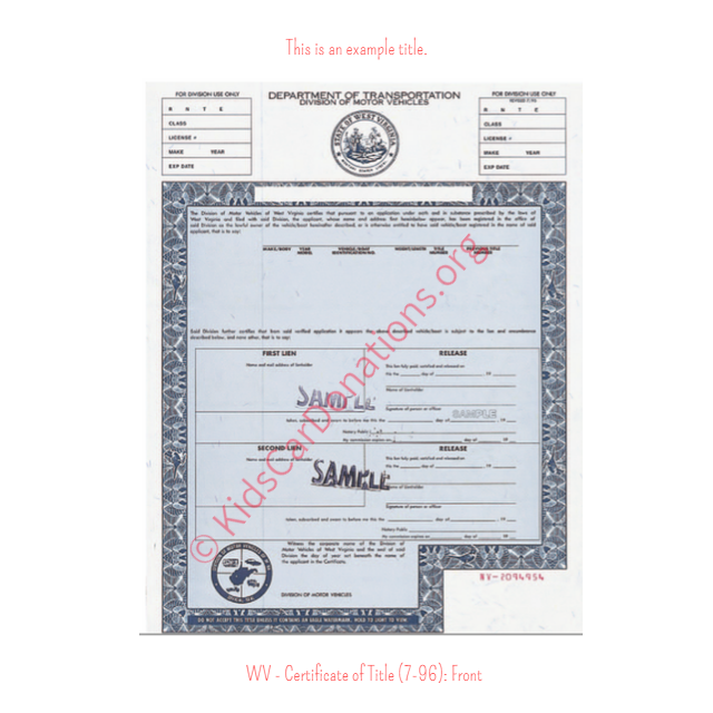 This is an Example of West Virginia Certificate of Title (7-96) Front View | Kids Car Donations